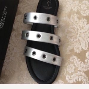 NEW silver Vera Wang slides with 1-inch heel